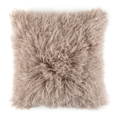Lamb's Wool Decorative Throw Pillow with Feather & Down Insert