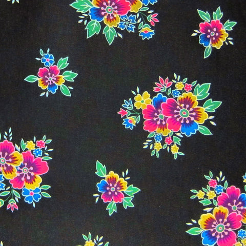 Black / Pattern #1 - Crystal Floral Satin