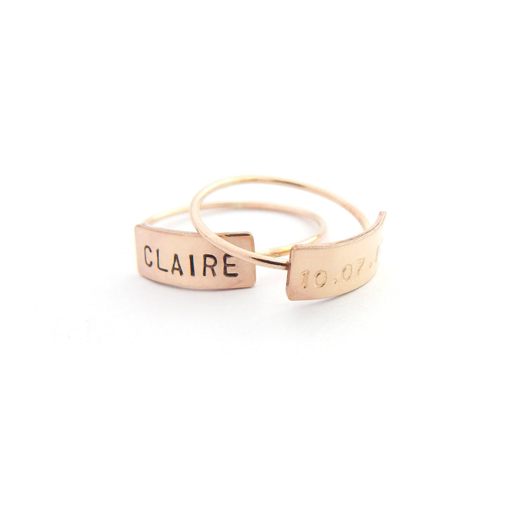 Personalized Bar Ring - Barberry + Lace