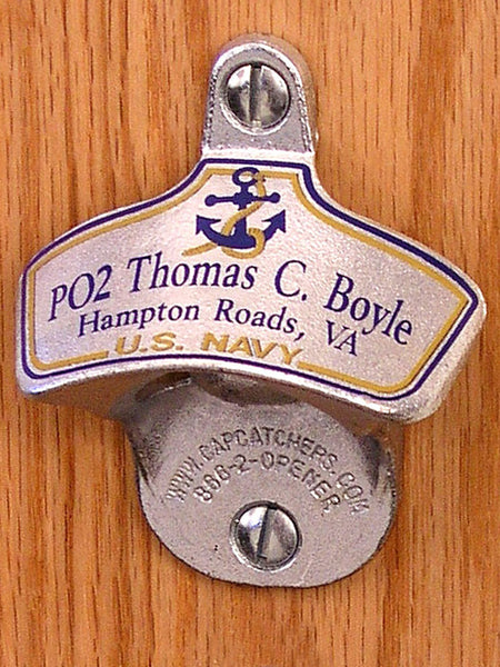 Personalized US Navy Wall-Mount Bottle Opener