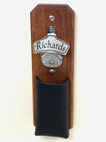 mahogany, stainless steel and leather Capcatcher Bottle Opener
