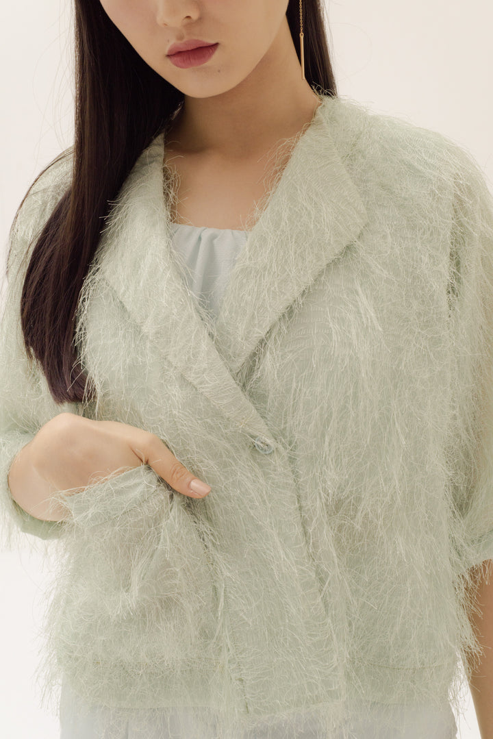 Ringan Jacket in Furry Pale Mint