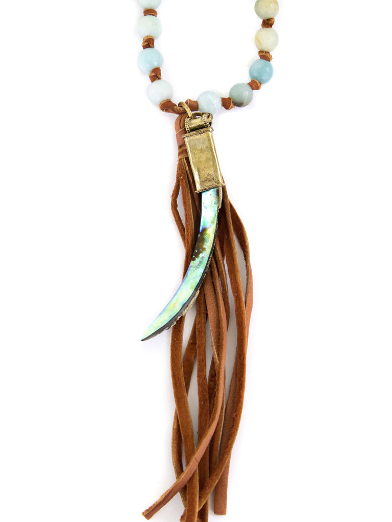 Stacy Fringe - Amazonite on Saddle Tan