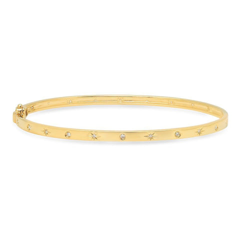 star studded diamond bangle bracelet 14K yellow gold sachi jewelry