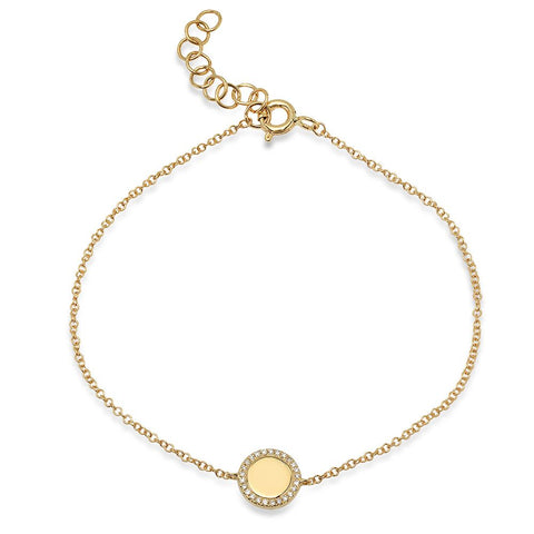 disc diamond bracelet 14K yellow gold sachi jewelry