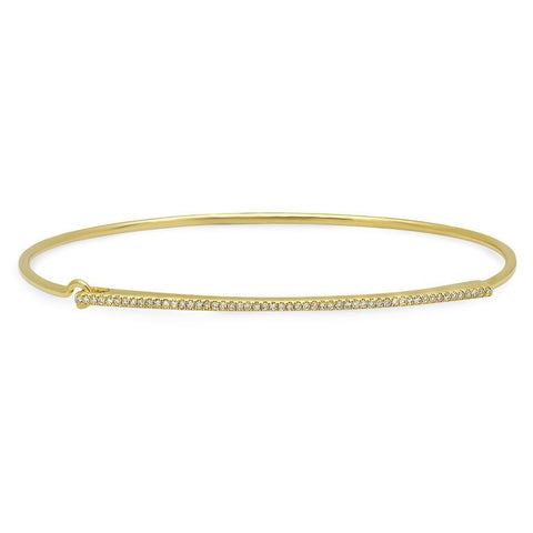 delicate dainty micro bar bangle bracelet 14K yellow gold sachi jewelry
