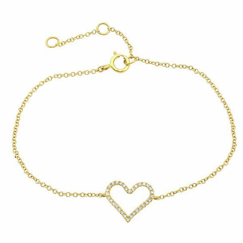 dainty delicate open heart diamond bracelet 14K yellow gold sachi jewelry