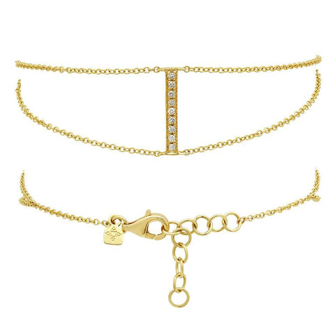 dainty double chain diamond bracelet 14K yellow gold sachi jewelry