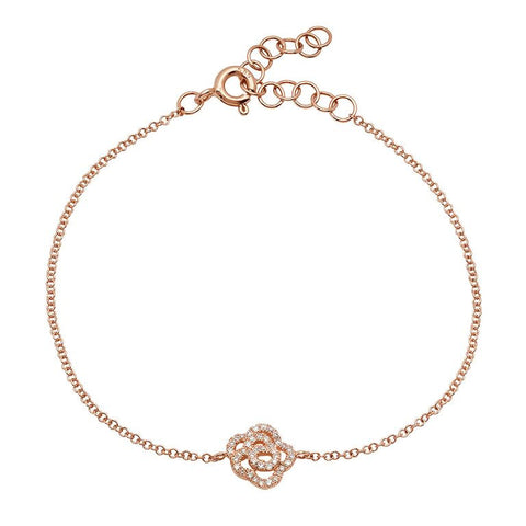 dainty flower diamond bracelet 14K rose gold sachi jewelry