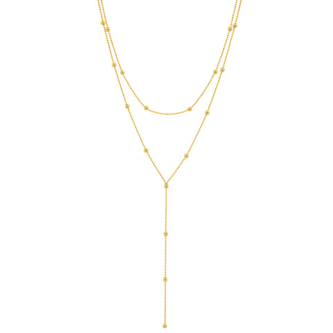 Gold Beaded Double Loop Lariat Necklace