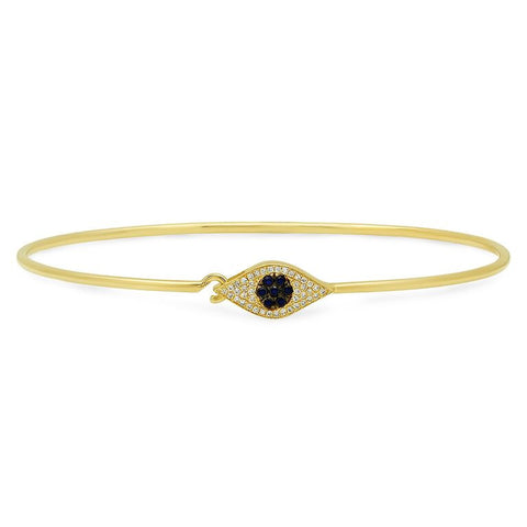 evil eye diamond bangle bracelet 14K yellow gold jewelry