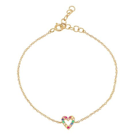 rainbow heart outline delicate bracelet 14K yellow gold sachi jewelry