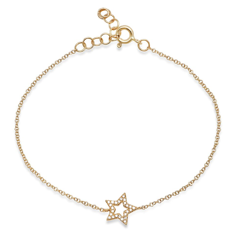 open diamond star bracelet 14K yellow gold sachi jewelry
