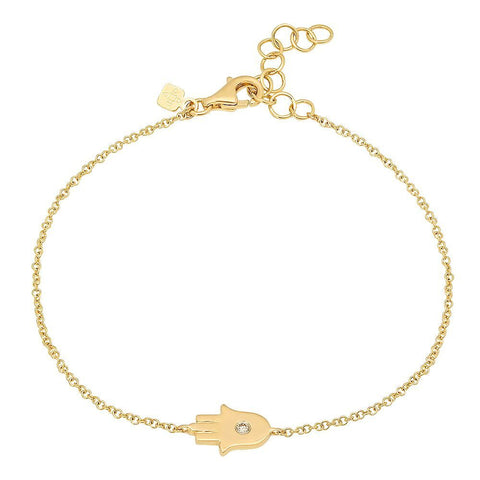 hamsa diamond bracelet delicate dainty 14K yellow gold sachi jewelry