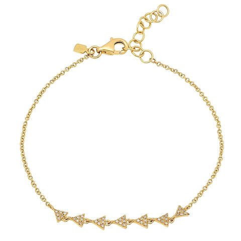 delicate dainty mini triangle train diamond bracelet 14K yellow gold sachi jewelry