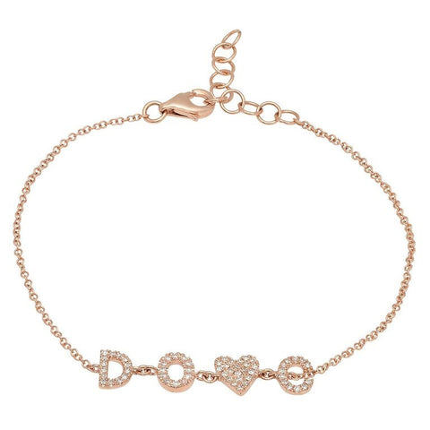 personalized initial diamond bracelet necklace 14K rose gold sachi jewelry