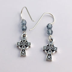 Pewter & Sterling silver small Celtic knot cross dangle earrings-denim blue crystal