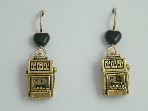 Gold tone Pewter & 14k gf Slot Machine dangle earrings-gambler, slots, gamble
