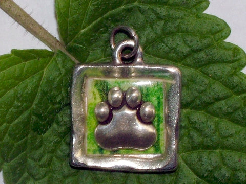 Pewter with jungle print & sterling silver paw print pendant-resin, cat, dog