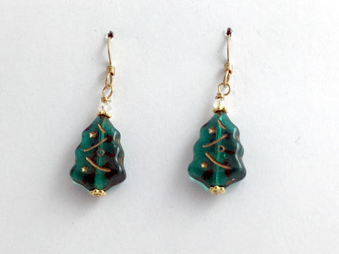 14k GF & Czech glass Christmas tree dangle earrings- Holiday, trees, green, Xmas