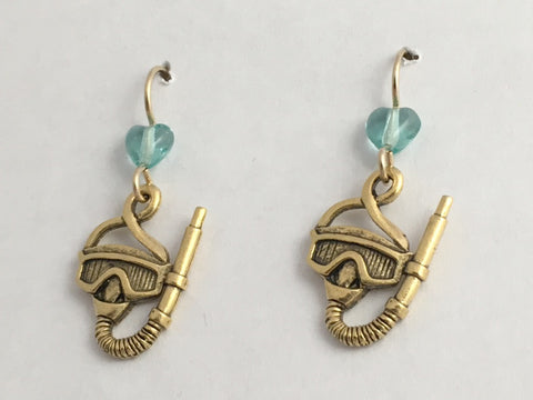 Goldtone Pewter &  14k GF Snorkel Mask  dangle earring-Scuba,Divers, Dive, swim