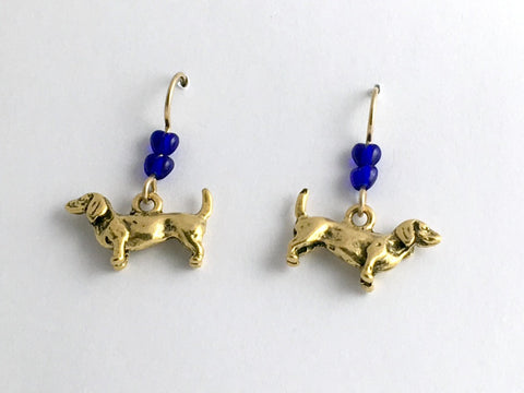 Gold tone pewter & 14k gf dachshund dog dangle earrings- dogs, dachshunds, heart