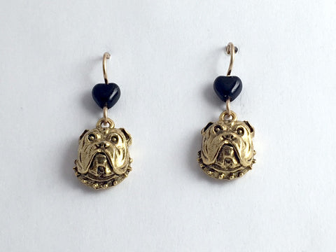 Gold tone pewter & 14k gf English Bull dog face dangle earrings- bulldog, dogs,