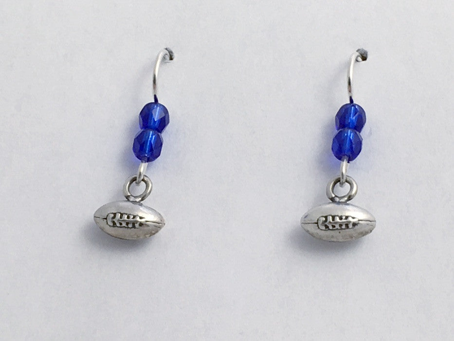 Sterling Silver tiny football dangle earrings- footballs, team colors, sports