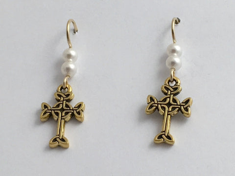 "Gold tone Pewter & 14k gf Celtic knot Cross dangle earrings-glass ""pearl""-faith"