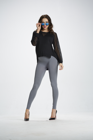 Lifestyle Shot of Ice Ice Baby Grey Maternity Leggings