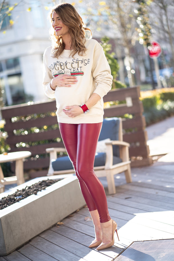 Popstar Mamacita Red Faux Leather Maternity Leggings