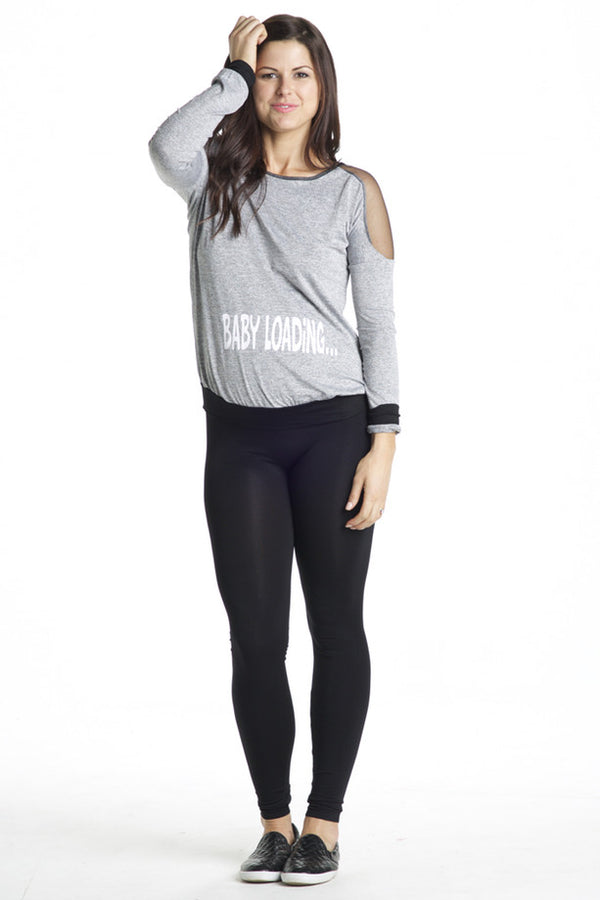 Front Shot of Baby Loading Mesh Insert Heather Gray Maternity Sweatshirt