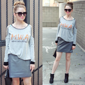 Lifestyle Shot of Mamas With Attitude䋢 Mesh Insert Heather Grey Maternity Sweatshirt