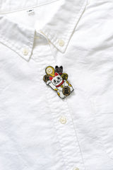Maneki Neko Beckoning Cat Embroidery Brooch
