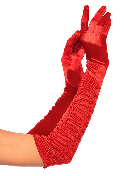 Opera Length Ruched Satin Gloves Red