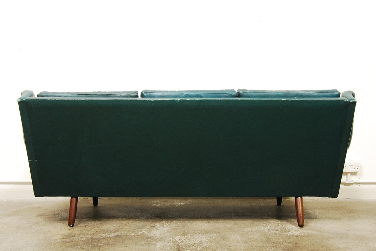 Petrol blue three seat sofa