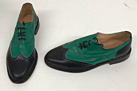 G Brogue Black/Emerald Green STOCK ONLY size 9
