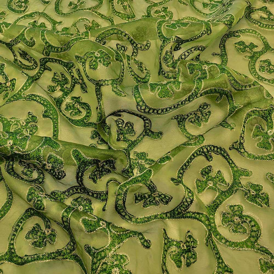 Dark Olive Vine Embroidery on Silk Organza Fabric
