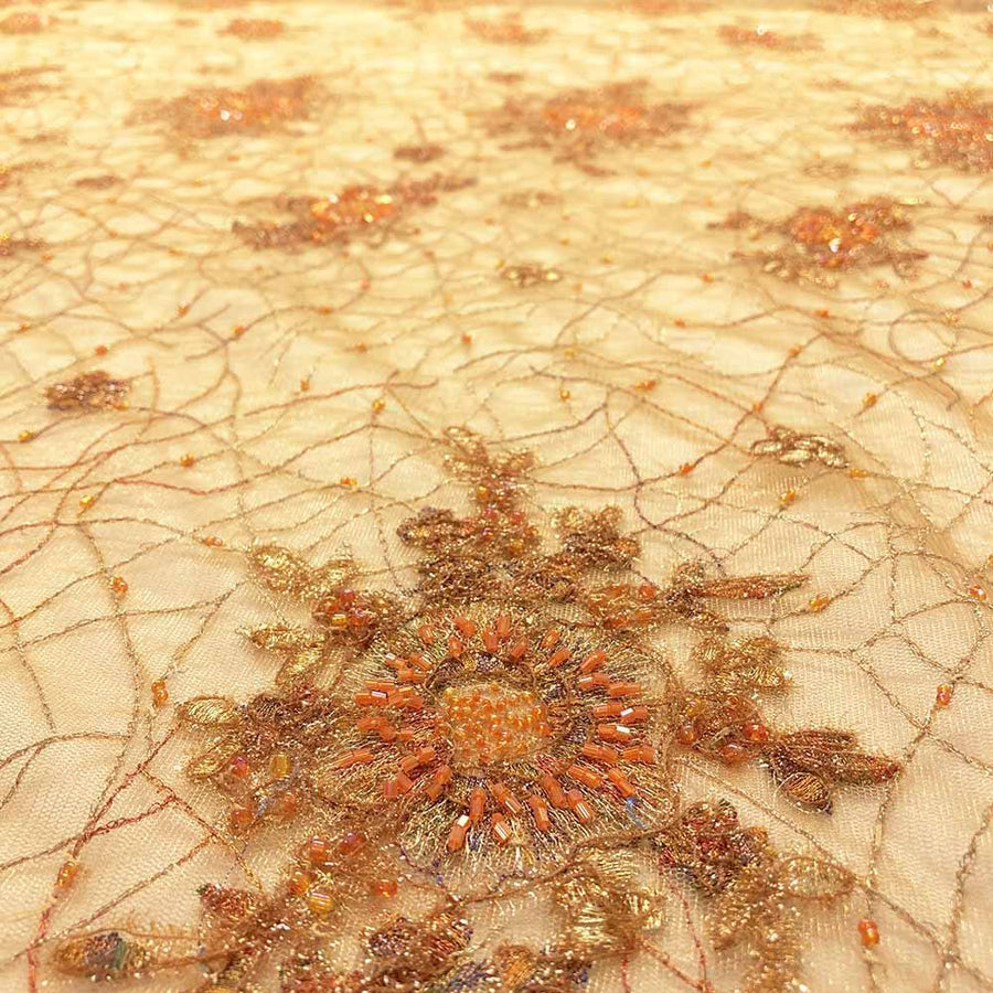 Orange Floral Sol Beaded Embroidery on Mesh