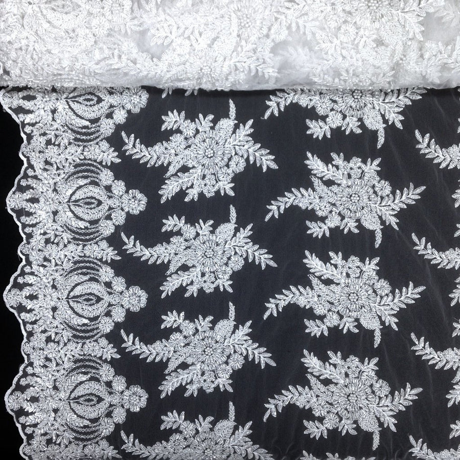 Floral Bridal Lace Beaded Fabric Fabric