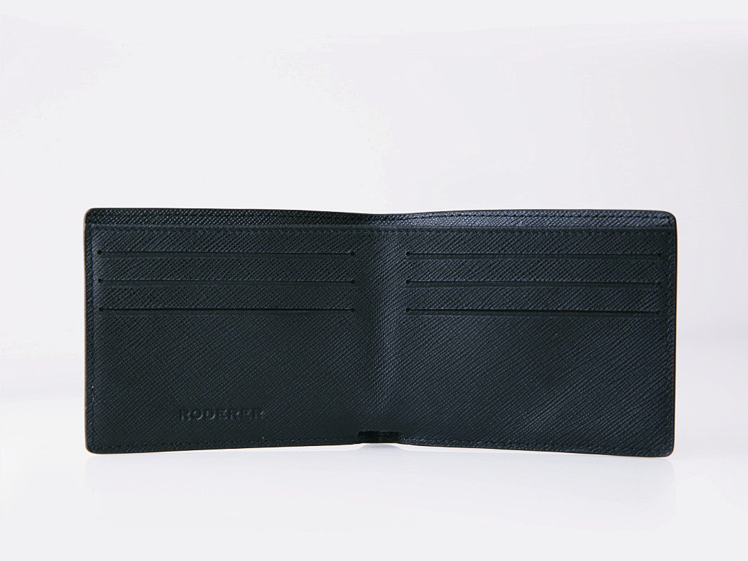 Roderer Trophy Bifold Wallet 6 Card Saffiano Black