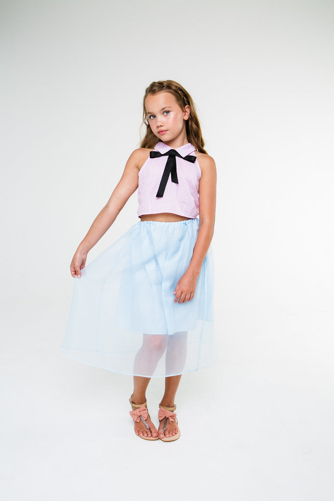 Louise (carnation pink gingham/blue skirt)