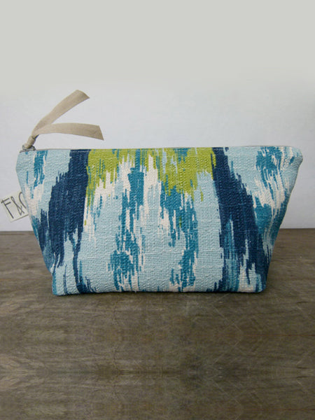 Frankie & Coco PDX Handmade Blue Ikat Cosmetic Bag