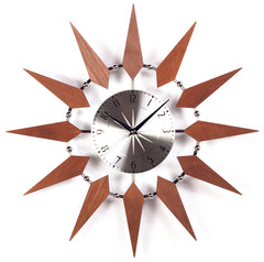 Starbust Clock in Silver and Walnut