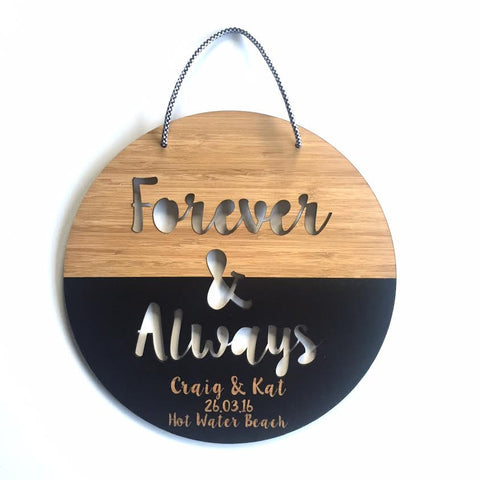Custom Wedding Day Forever & Always Wall Hanging