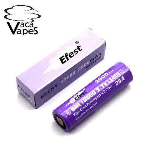 Efest Purple IMR 18650 2500mAH 35amp 3.7v Flat Top Batteries
