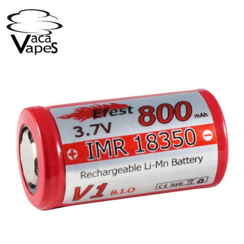 Efest IMR 18350 800mAH 3.7v High Drain Flat Top Batteries