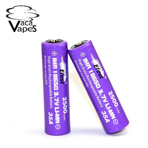 Efest Purple IMR 18650 2500mAH 35amp 3.7v Button Top Batteries