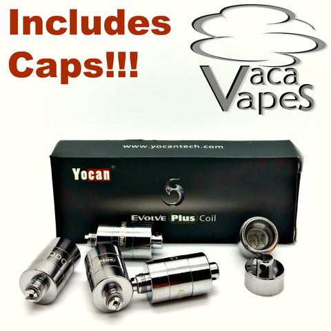 5 Pack Replacement Quartz Dual Coils (QDC) YoCan Evolve Plus Includes CAPS!!