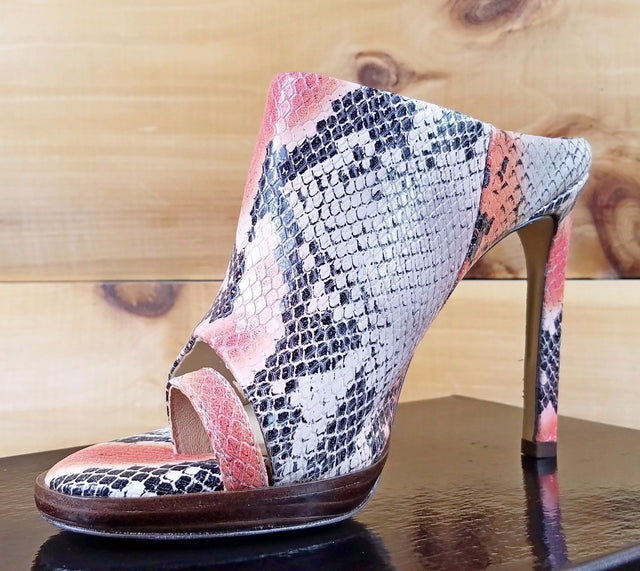 "Luichiny Rev It Up Orange Snake Leather 4.5"" Heel Slip On Mini Platform Shoe"